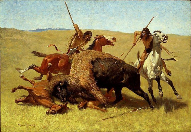 Vyobrazení bioního lovu na obraze Frederica Remingtona. Bizonímu býkovi se podařilo srazit koně i jezdce, které zmrzačil nebo rovnou zabil. Takové scény byly běžné.