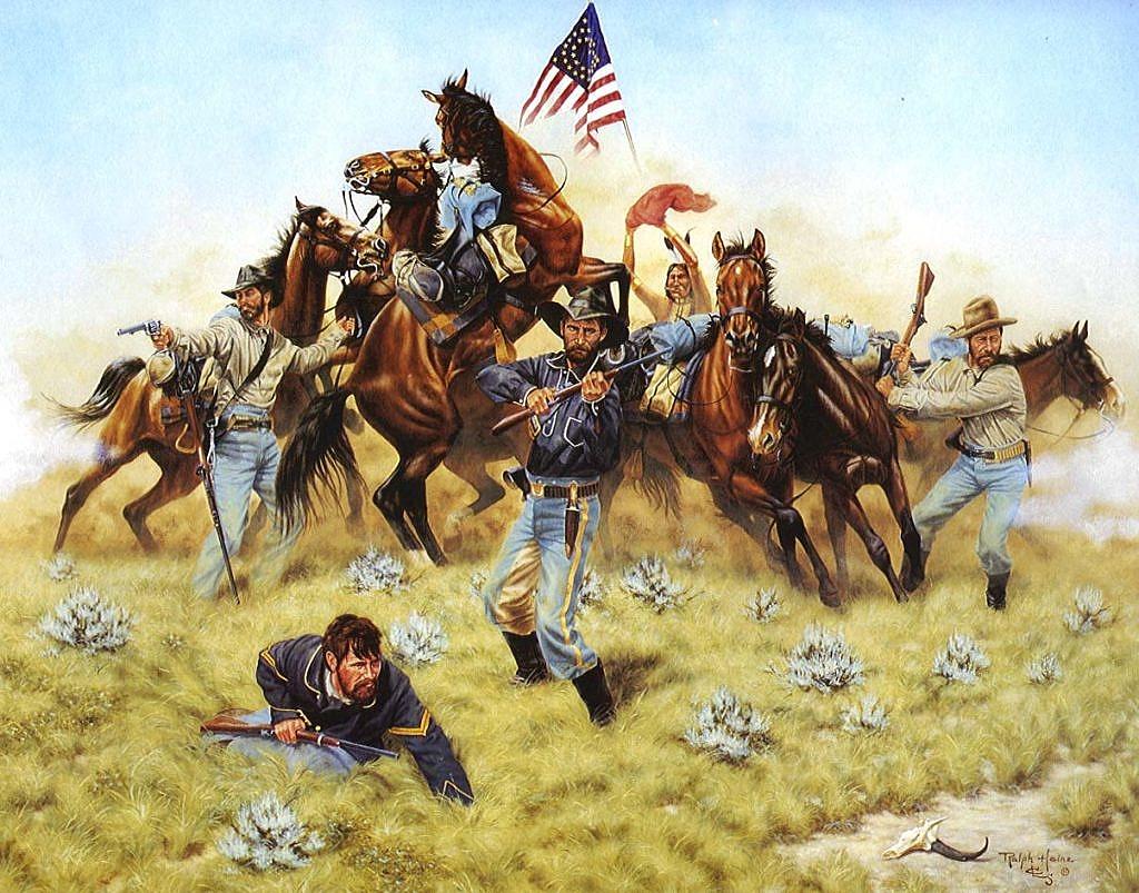 Americká kavalerie těžce bojující na pláních proti nepřátelským indiánům.