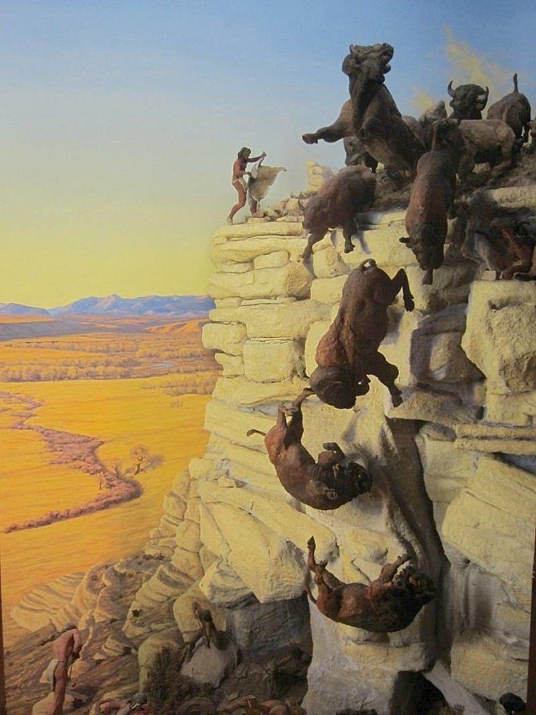 Diorama bizoního skoku.