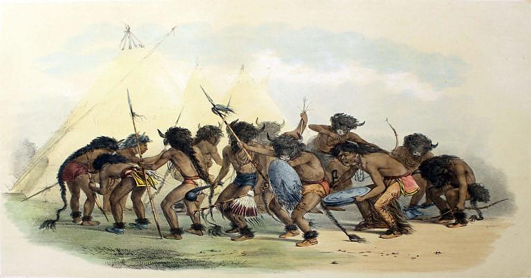Bizoní tanec na obraze George Catlina. Pokud indiáni dlouho nenarazili na bizony, připisovali to většinou špatně provedeným obřadům nebo nepřízni Velkého ducha.