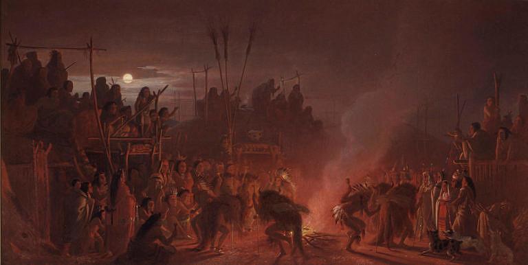Bizoní tanec ve vesnici kmene Mandanů nebo Hidatsů na obraze Charlese Wimara. Pokud indiáni dlouho nenarazili na bizony, připisovali to většinou špatně provedeným obřadům nebo nepřízni Velkého ducha.