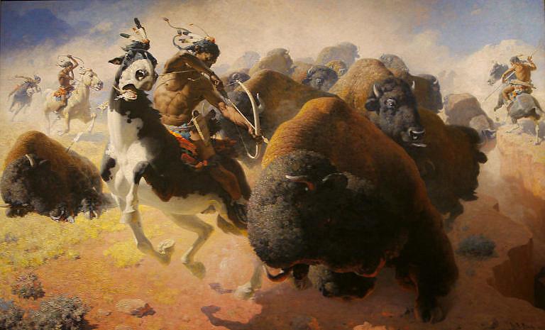 Lov bizonů na obraze Williama Robinsona Leigha.