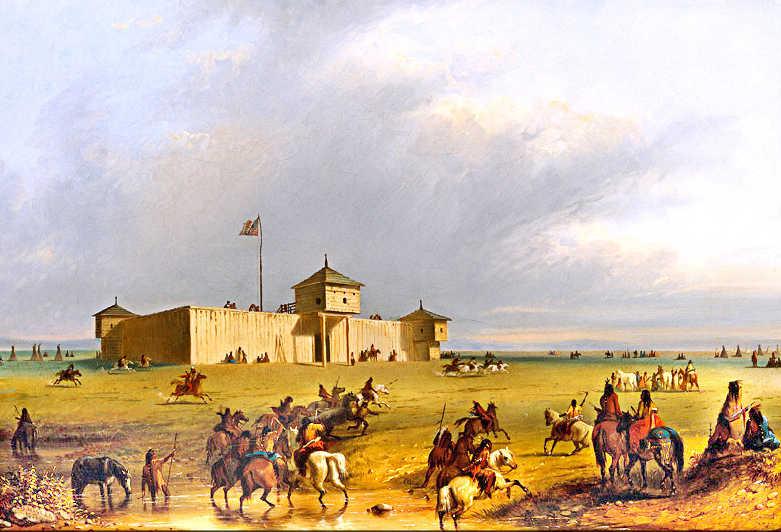 Pevnost Fort Larammie na obrázku od Alfreda Jacoba Millera. V době vzniku obrázku byla ještě obchodní stanicí. V roce 1849 ji koupila americká armáda aby chránila přistěhovalce.