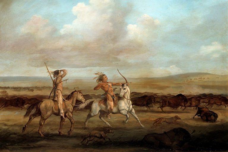 Lov bizonů na obraze George Catlina.