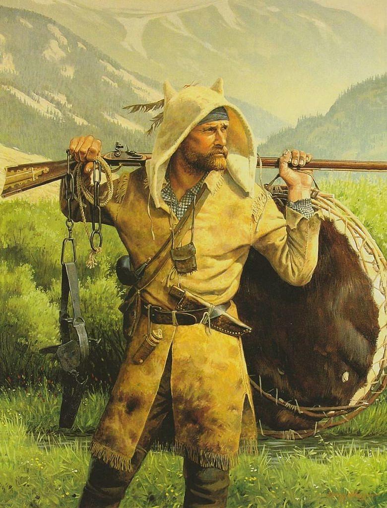 Horal-trapper či mountainman na vysoce realistickém obraze současného autora.