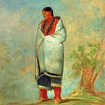 Indiánská žena s hudsons bay dekou na kresbě Georga Catlina.