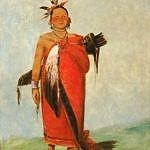 Indiánský mladík s hudsons bay dekou na kresbě Georga Catlina.