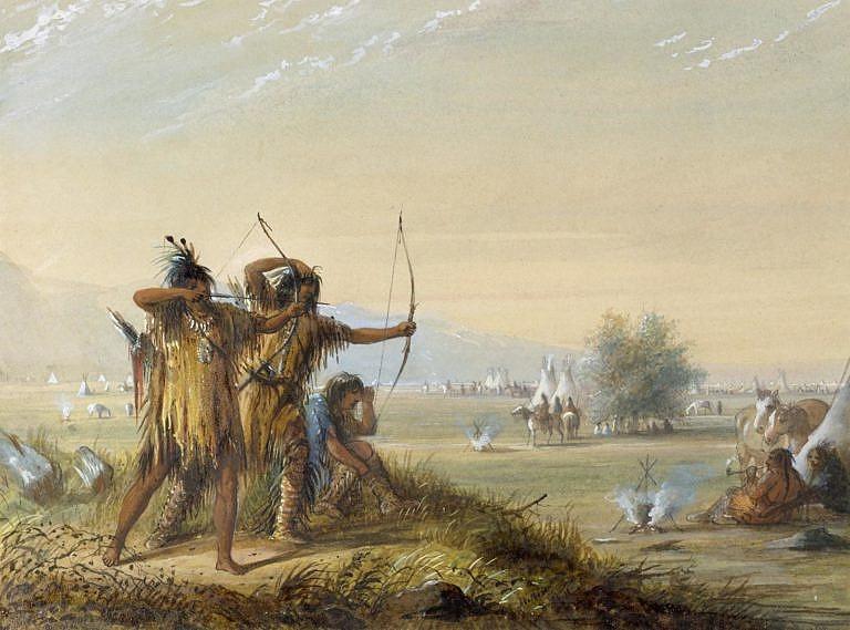 Trénink lukostřelby na obraze A. J. Millera z roku 1837.