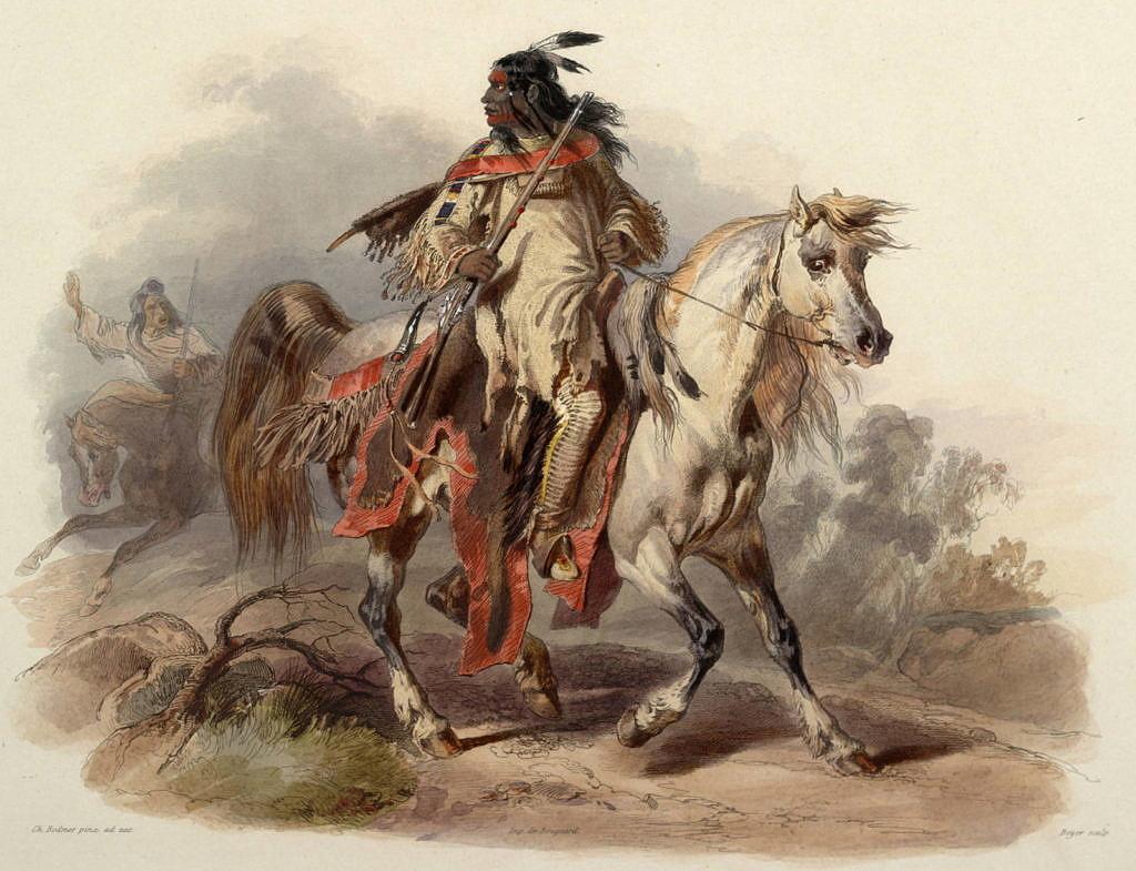 Indián kmene Černonožců na svém koni. Malba Karl Bodmer.