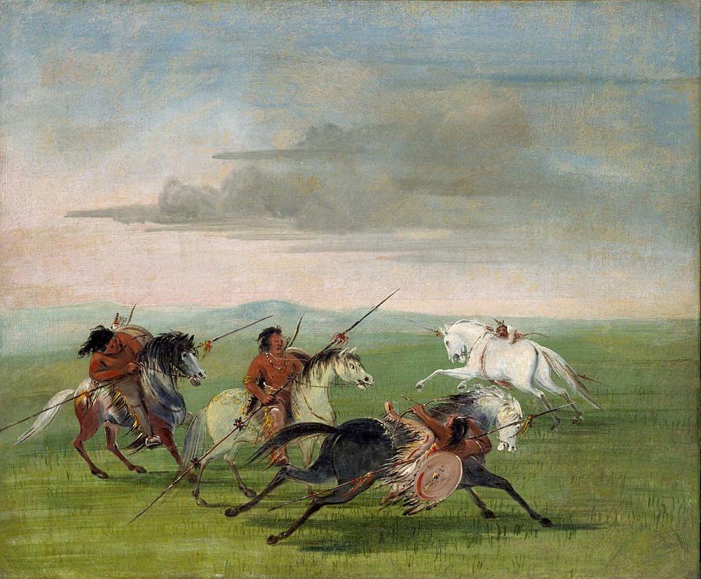 Souboj indiánů z jižních plání na koňském hřbetu. Malba Georg Catlin. S koňmi bylo mezikmenové válčení snažší.