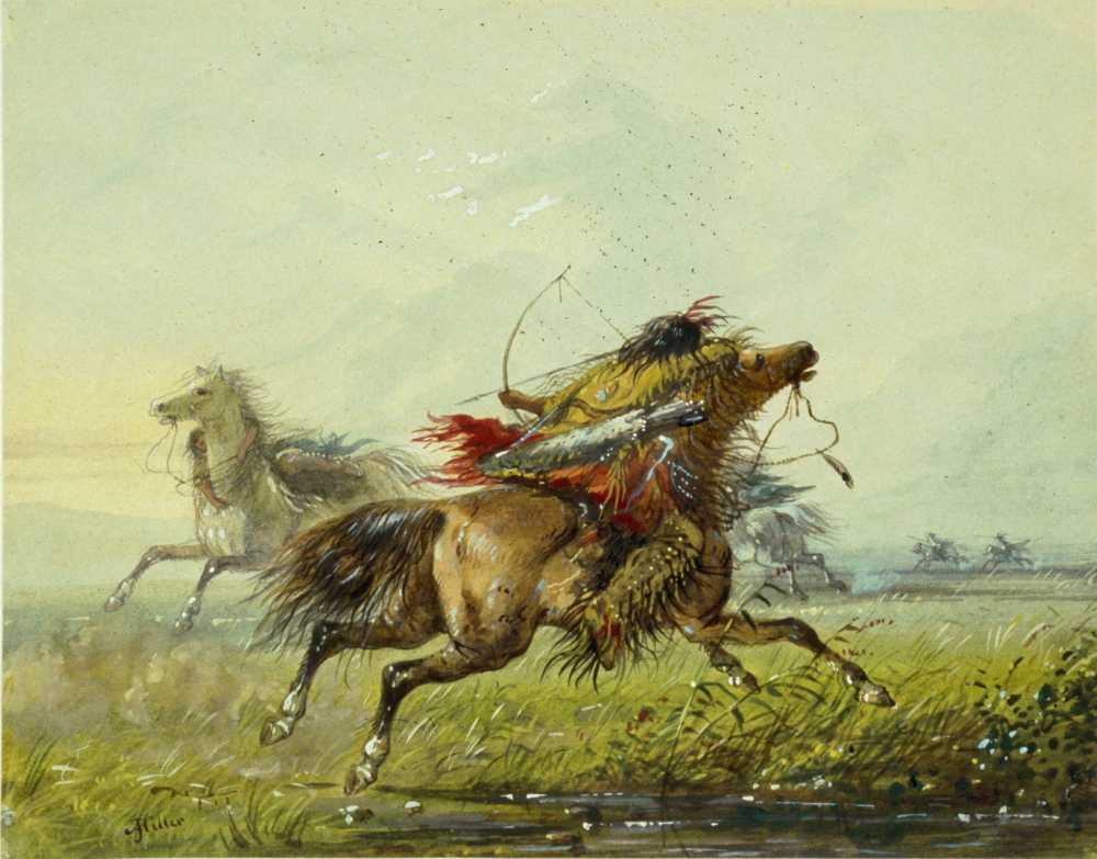 Boj mezi indiány plání probíhal většinou na koňském hřbetu. Obrázek od A.J.Millera.
