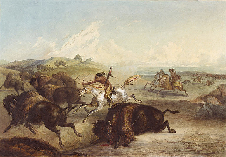 Lov bizonů z koňského hřbetu na obraze legendárního malíře Karla Bodmera.