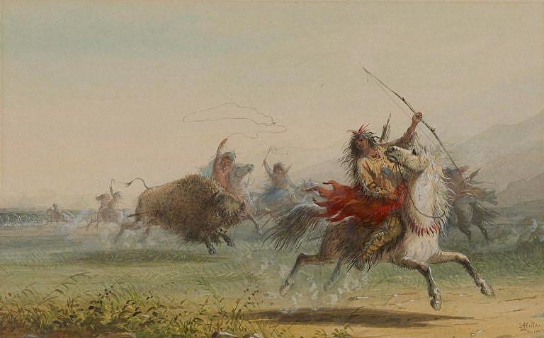 Lov bizonů na obraze Alfreda Jacoba Millera.