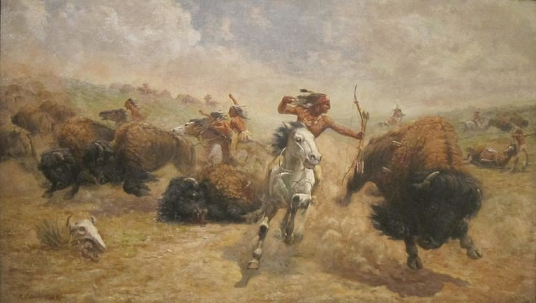 Lov bizonů z koňského hřbetu na obraze Roberta Jenkinse Onderdonka. Koně k takovému lovu museli projít dlouhým a náročným výcvikem. Obyčejný kůň by lov nezvládnul.