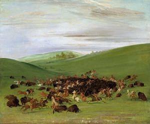 Lov bizonů z koňského hřbtu - obkličovací strategie. Kresba George Catlin.
