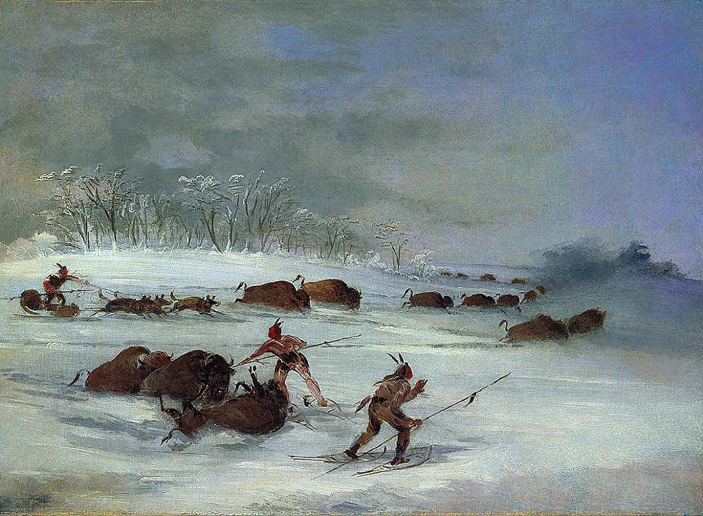 Lov v hlubokém sněhu. Kresba Georg Catlin. Všimněte si indiánských sněžnic.