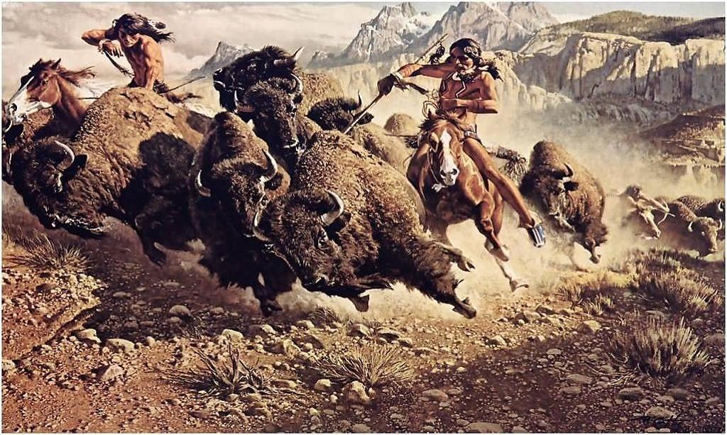 Lov bizonů z koňského hřbetu.