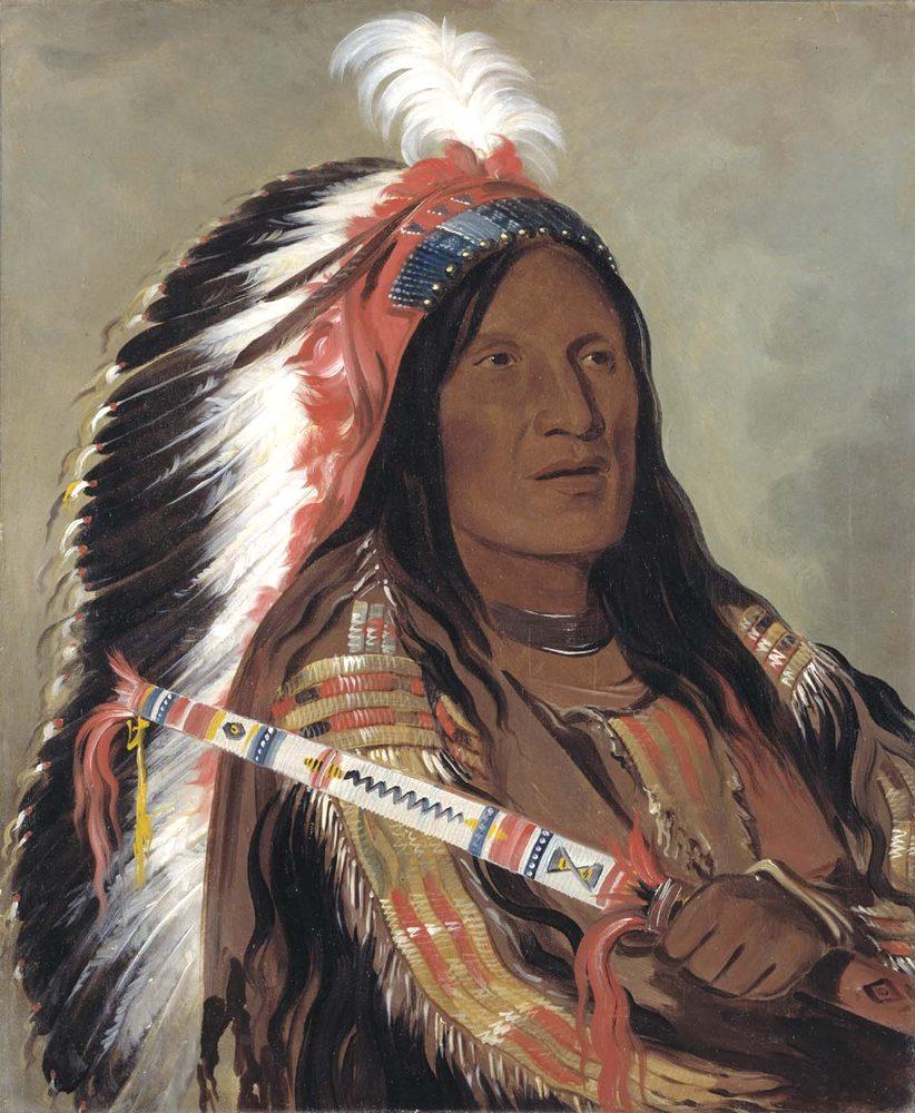 Lakotský náčelník Strmý déšť s čelenkou. Kresba George Catlin.