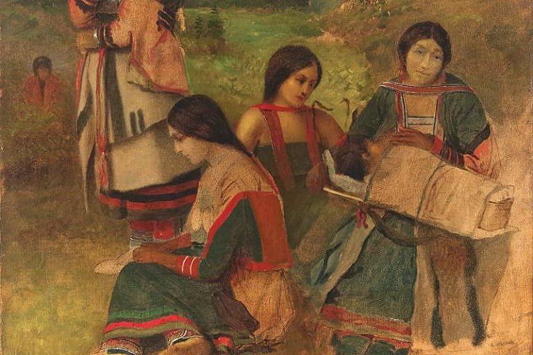 Odžibwejské ženy na obrazu Eastmana Johnsona.