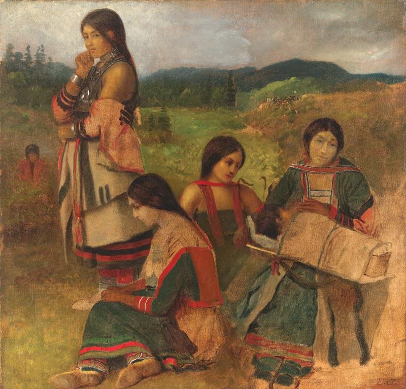 Odžibwejské ženy na kresbě Eastmana Johnsona z roku 1856. Některé mají oblečené i rukávy a některé ne.