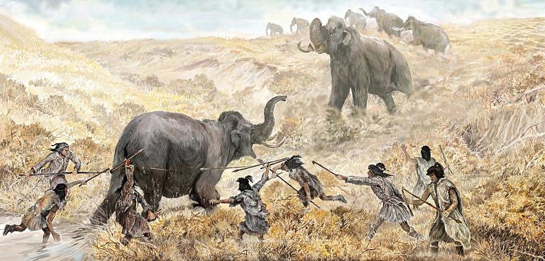Paleoindiáni loví mamuty.