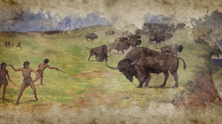 Paleoindiáni loví pravěké bizony.