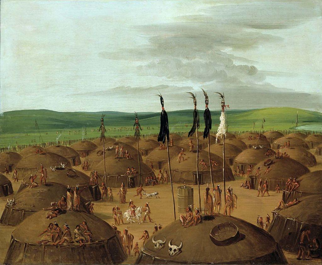 Permanentní indiánská zemědělská vesnice z polozemnic na Velkých pláních. Takové stávaly u toků velkých řek. Před příchodem koní to byl převažující styl osídlení na pláních. Malba George Catlin.