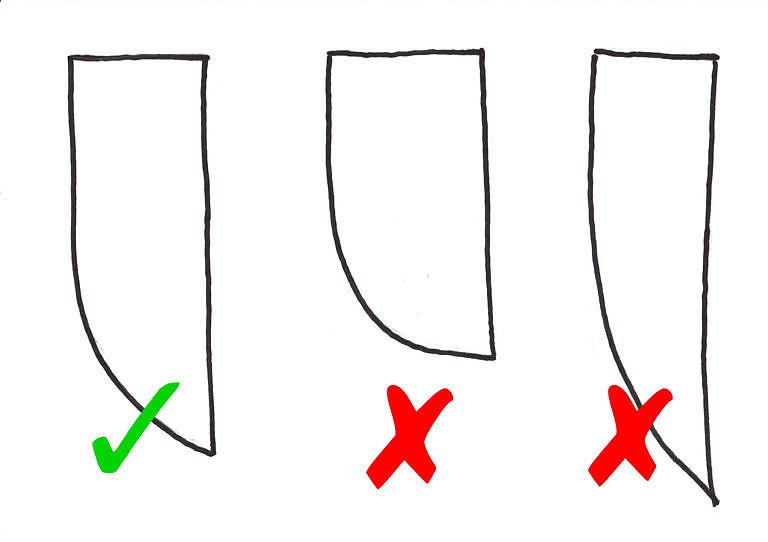 Správné versus chybné proporce pouzdra na nože. Vzájemné poměry a tvary jednotlivých částí mají svůj význam a není možné je svévolně měnit, pokud to člověk s výrobou replik myslí jenom trochu vážně.