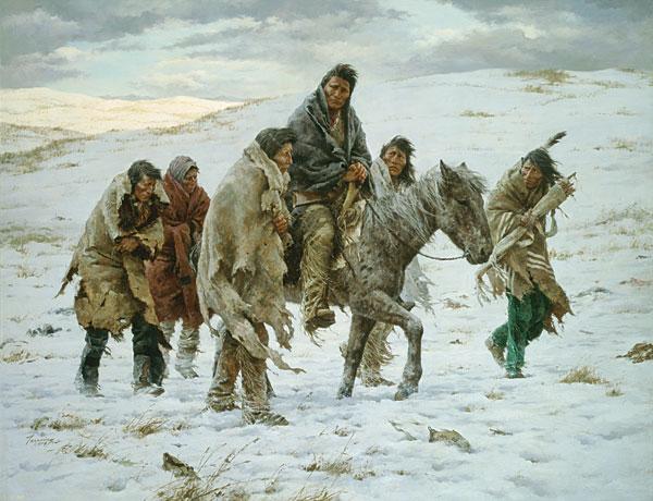 Náčelík Joseph před kapitulací. Obrázek od H.Terpninga nabízí realističtější vykreslení situace Propíchnutých nosů a náčelníka Josepha.