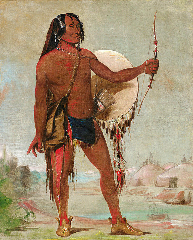 Rudý hrom, válečník kmene Hidatsů se svým lukem na dobovém obrazu Georga Catlina z roku 1832.