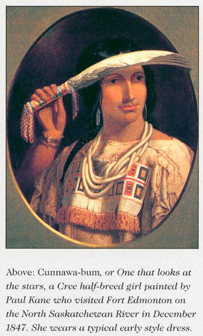 Přesně ty samé šaty jako na obrázku výše namalované malířem Paulem Kanem na Kríjské míšence Té, která hledí ke hvězdám, obraz pochází z roku 1847.
