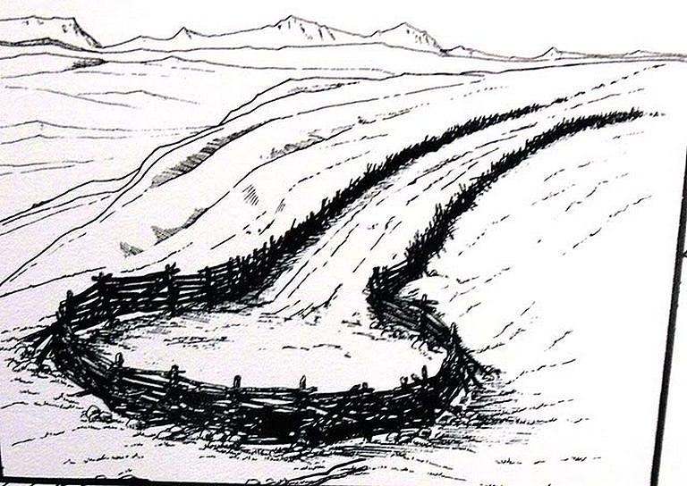 Skica ohrady pro lov bizonů.