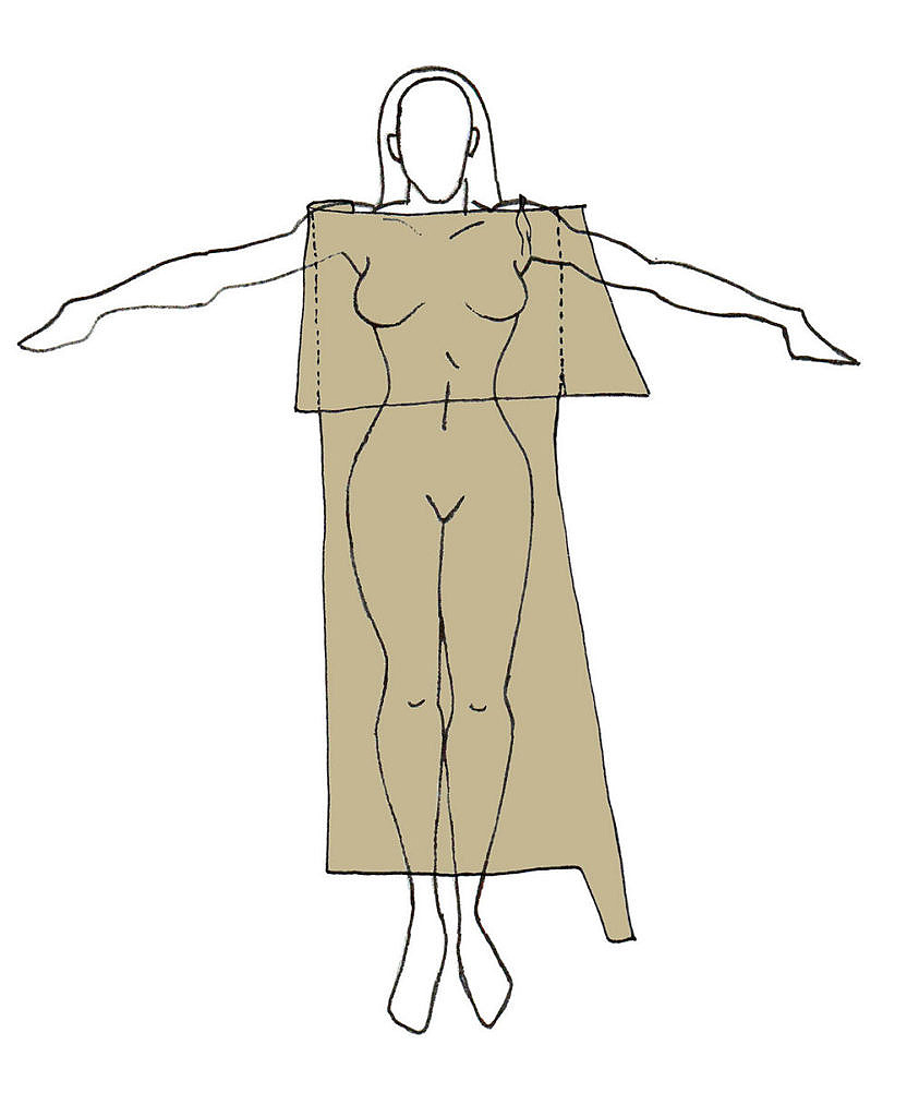 Schéma šatů z přeložené kůže na ženské postavě