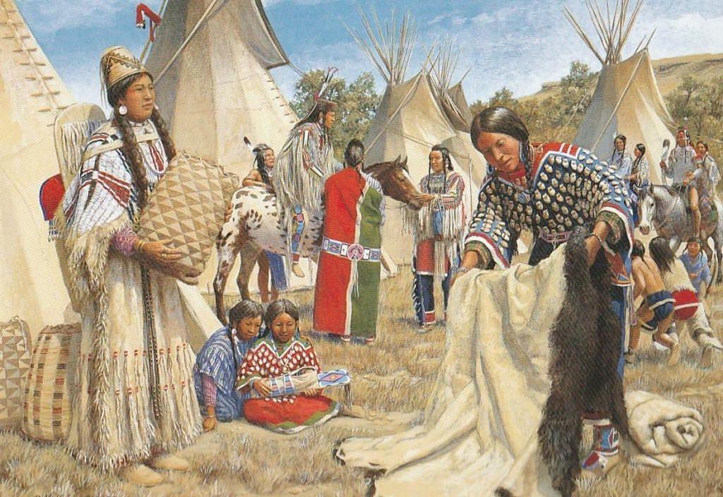 Indiáni kmene Vran a Propíchnutých nosů se setkávají ve vraní vesnici aby obchodovali. Vraní indiánka nabízí bizoní plášť zatímco muži v pozadí obdivuji Appaloosu, kteou přivedli indiáni kmene Propíchnutých nosů.