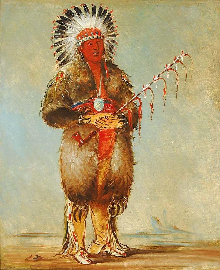 Uvolněná troubel. Náčelník kmene Otů. Kresba George Catlin.