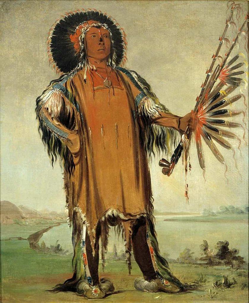 Vlčí náčelník-náčelník kmene Mandanů. Kresba George Catlin.