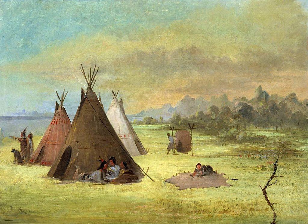 Indiánské ženy ve vesnici zpracovávají bizoní kůže. Kresba George Catlin.