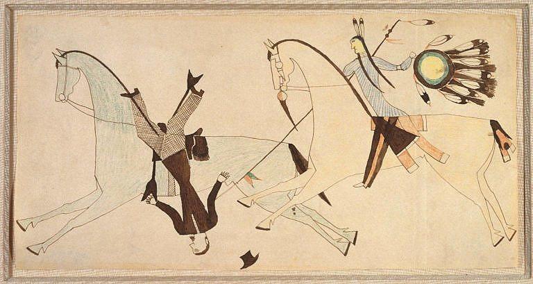 Kresba neznámého šajenského válečníka z Brooklynského muzea.