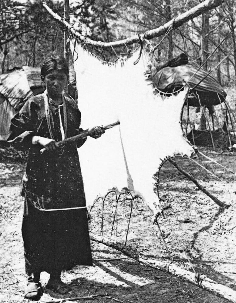 Indiánská žena kmene Winnebago změkčuje kůži v rámu.