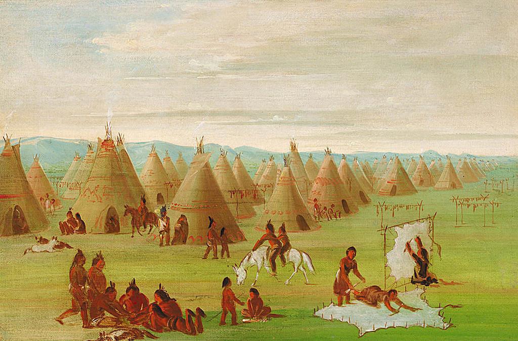 Indiánské ženy mízdří bizoní kůže. Kresba Georg Catlin. Na obrázku jsou vidět obě varianty, jak kůže přikolíkovaná k zemi tak i vypletená do rámu.