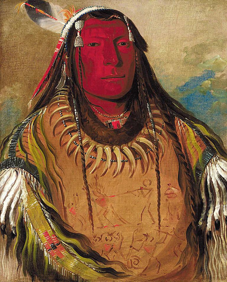 Náčelník Hidatsů Dvě vrány na kresbě Goerge Catlina.
