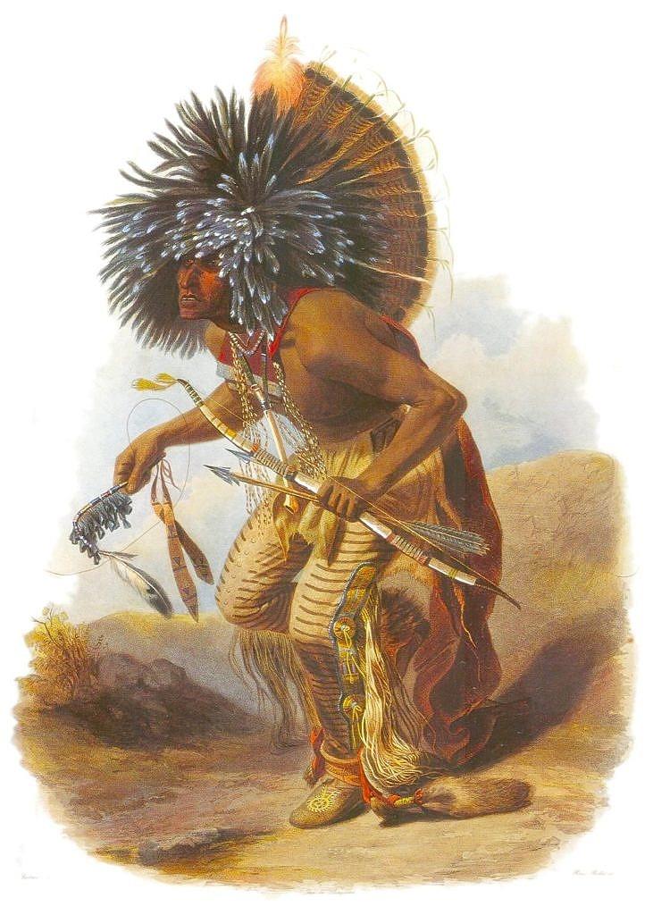Válečník kmene Hidatsů, příslušních Psích vojáků Periška Ruhpa na kresbě Karla Bodmera.
