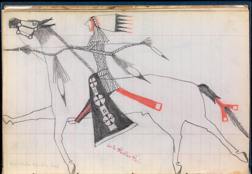 Kresba lakotského válčeníka Červeného psa. Na kresbě je patrně on sám. Jeho bederka je vyrobena z červeného vlněného sukna s bílými neobarvenými okraji. Ocas koně je zavázán tím stejným materiálem.