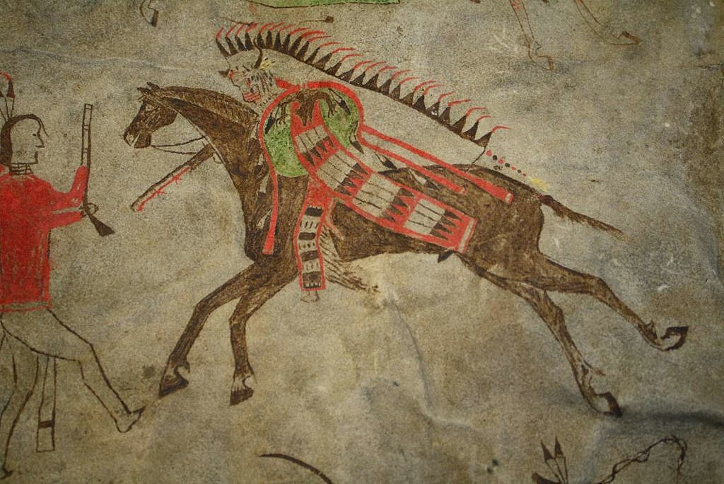 Piktogram z originálního bizoního pláště. Pennsylvania museum.