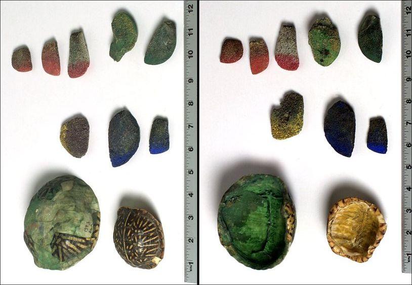 """Sada originálních indiánských kostěných štětců i s želvými krunýři, které sloužily jako zásobníky na pigmentový """"inkoust""""."""