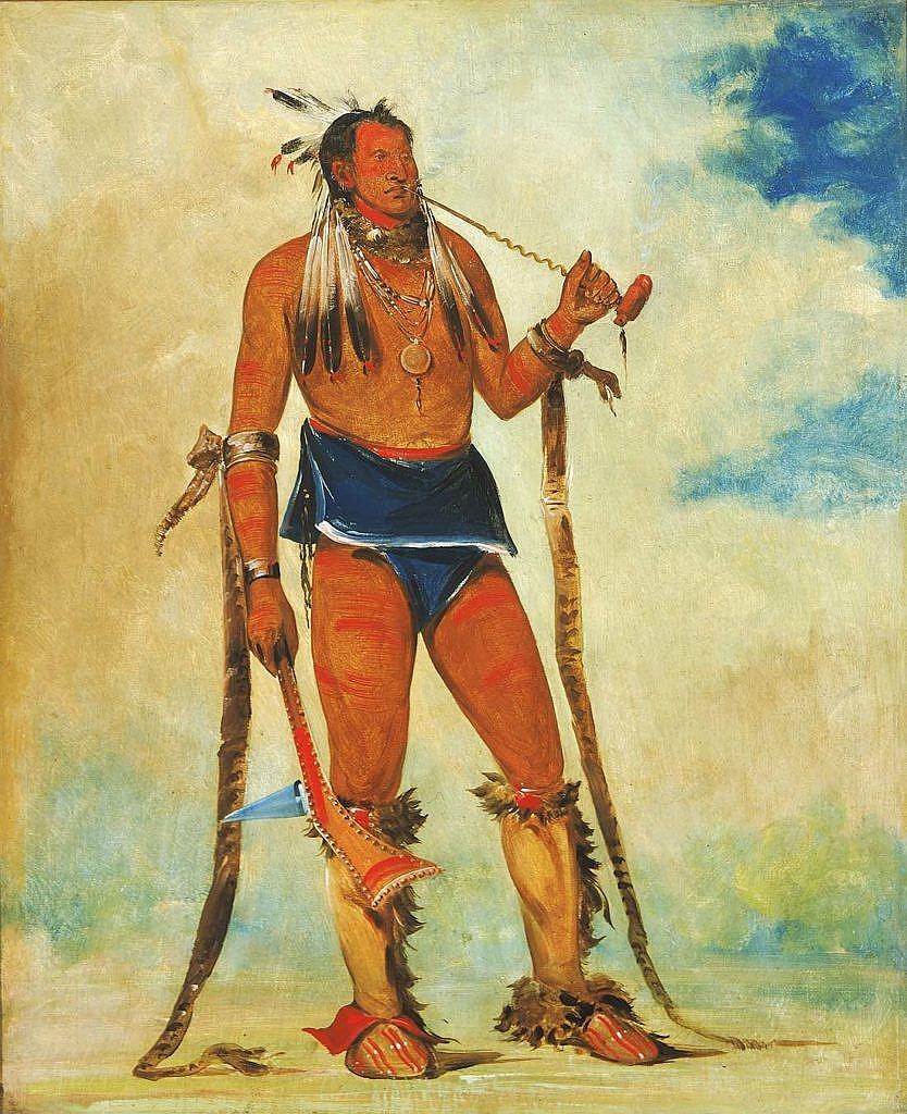 Kresba George Catlina. Válečník má bederku z modré látky s bílým okrajem.
