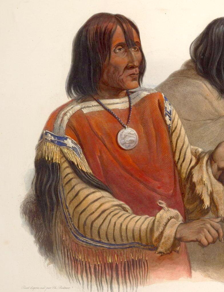 Náčelník Černonožců Krvavců. Kresba Karl Bodmer. Košile má tělo z červené vlněné látky s bílým okrajem.