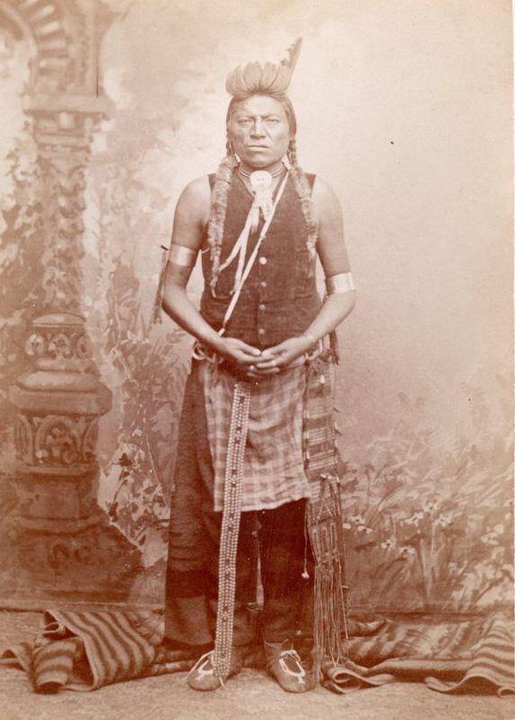 Stará vrána, indián kmene Vran na fotografii z roku 1881.