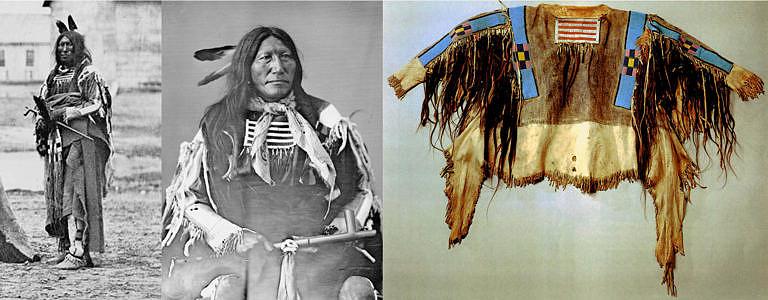 Pomalý býk byl náčelník Lakotů Oglalů. V roce 1868 se zúčastnil setkání ve Fort Laramie, kde společně s dalšími náčelníky podepsal známou smlouvu. Fotografie vlevo pochází právě z této události. Pomalý býk má na sobě halenu a legíny kmene Vran, nepřátel Lakotů. Na fotografii uprostřed má na sobě stejnou halenu, kterou evidentně vlastnil, jelikož fotografie pochází z období o několi let později (počátek 70. let 19. století). Na fotografii vpravo je tatáž halena vyfocená nedávno. Halenu pravděpodobně dostal od delegace Vran jako diplomatický dar.