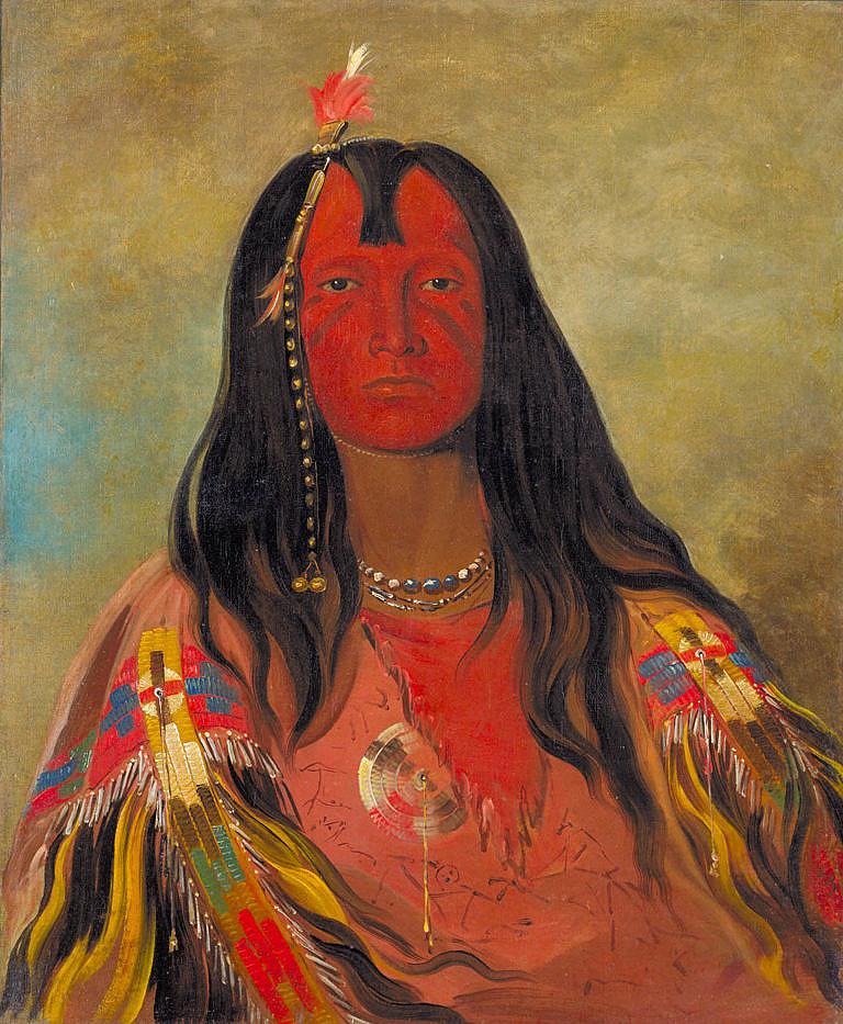 Válečník ze severních plání na kresbě G.Catlina s nádherou košilí barvenou hlinkami a malovanou piktogramy